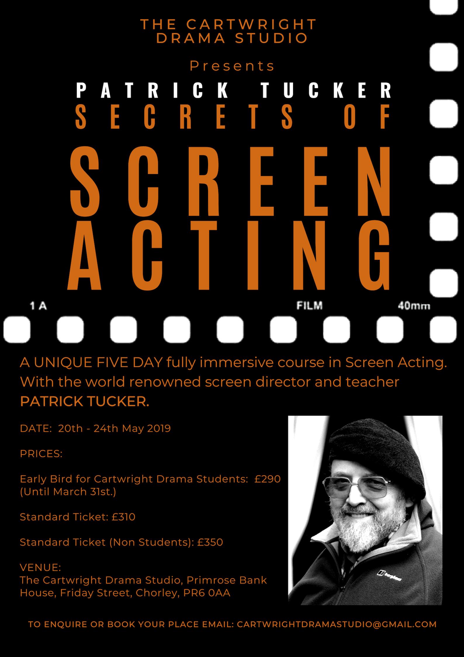 Cartwright Drama Studio Presents Secrets of Screen Acting Image 2